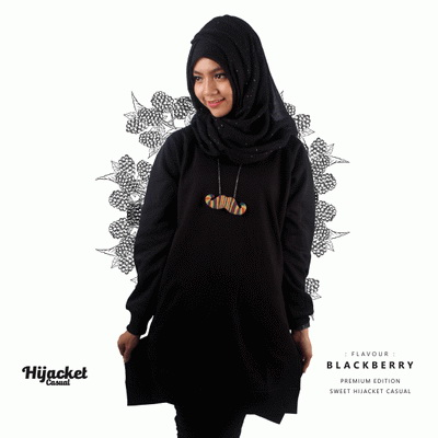 jaket-hijab-casual-hitam, Jaket Hijab Casual Style